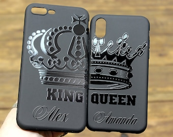 362d5b4abb Couple iphone XS case Monogram king and queen crown iphone X cases iPhone  XS MAX case Couple iphone x cases for couples Personalized
