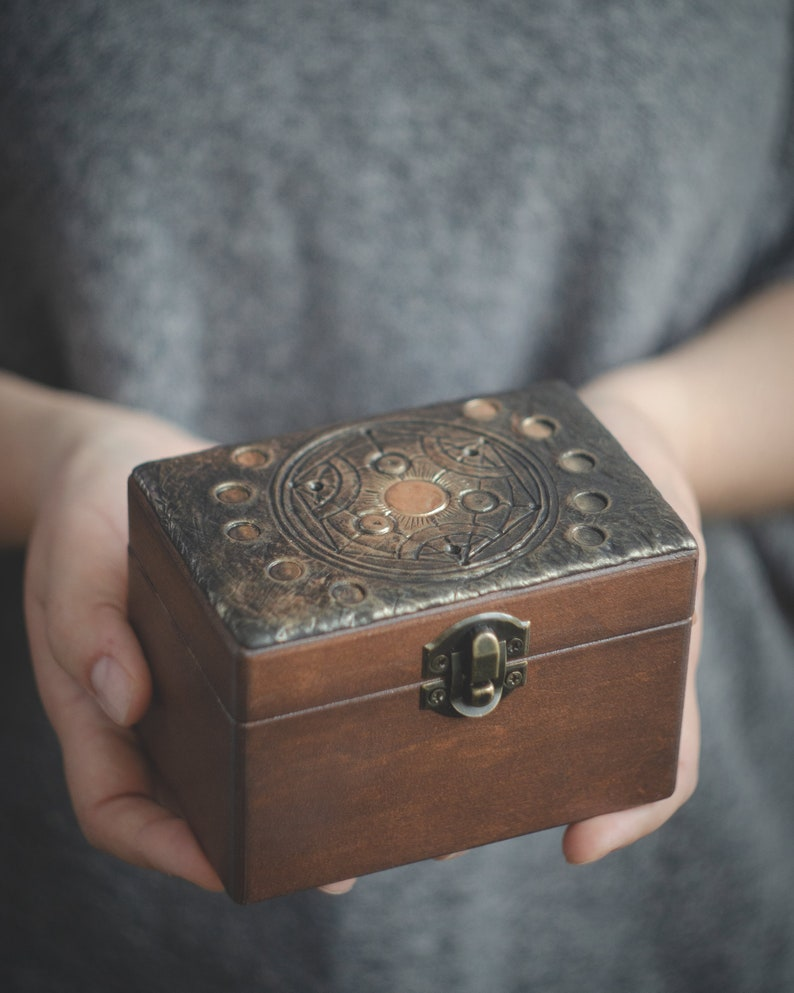 Magic wooden box moon phases dragon moth crystal box storage personalized fantasy wooden stash box medieval witch tarot card wooden box