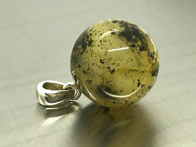 Amber Pendant Natural BALTIC AMBER PENDANT Round Bead Ball Gift Silver 925 Ladies Jewelry 2,8g 14654