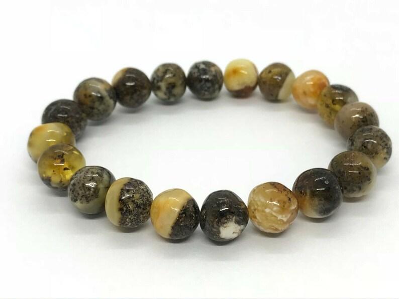 Rare Natural Baltic Amber genuine marble beads stone jewelry bracelet 10 g #2131