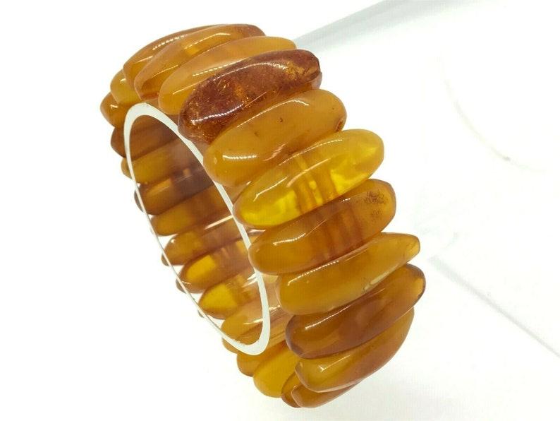 Old Vintage Natural BALTIC AMBER BRACELET Egg Yolk Butterscotch Beads 27,4g 9147