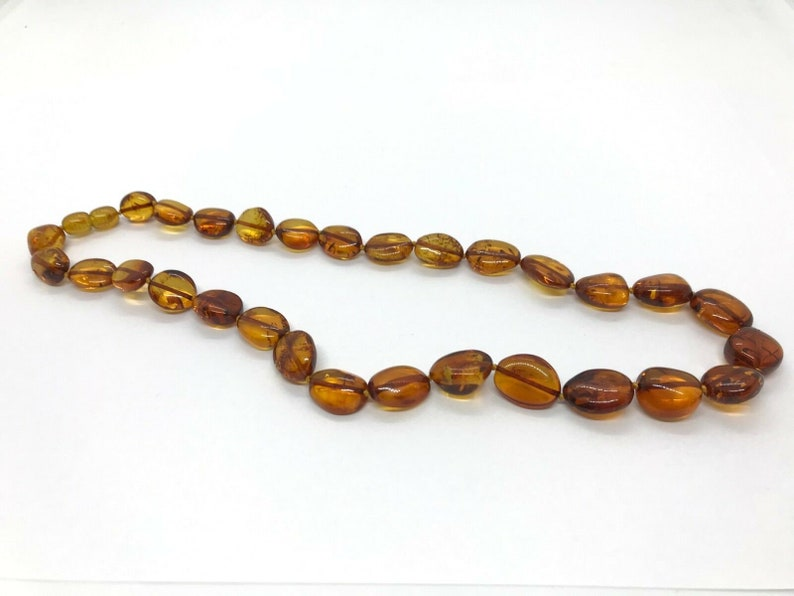 Real Natural Baltic Amber polished cognac beans knotted necklace 21,9 gr #3168