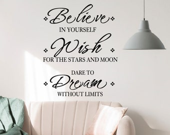 Dream Big and dare to fail vinyl wall decal quote sticker lettering decoration