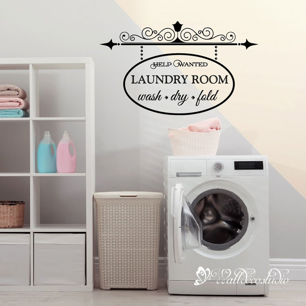 Fluff and Fold Laundry Company Help Wanted Apply Within Vinyl Decal Sticker