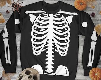 Halloween All-Over Skeleton Print Unisex Sweatshirt, Halloween Party Sweater, Gift For Men And Women