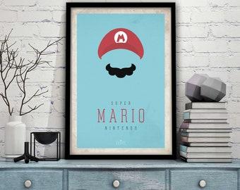A0 A1 A4 sizes A3 Super Mario Mushroon Art Large Poster A2