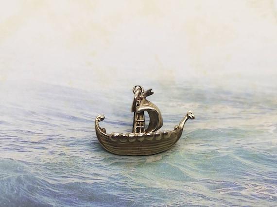 Vintage 1960s Gold Viking Boat Pendant/Charm