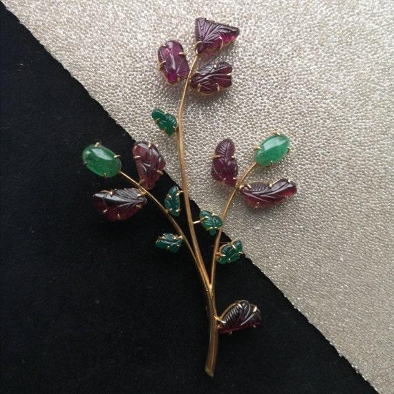 Vintage Garnet Flower Brooch
