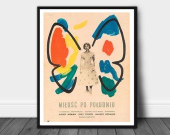 Vintage Polish Movie Print, Vintage Movie Print, Gallery Print, Audrey Hepburn print, Movie Poster, Polish poster, Vintage Movie Print