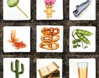 Magnets, fridge magnets, refrigerator magnets, hand painted, porcelain, pop culture