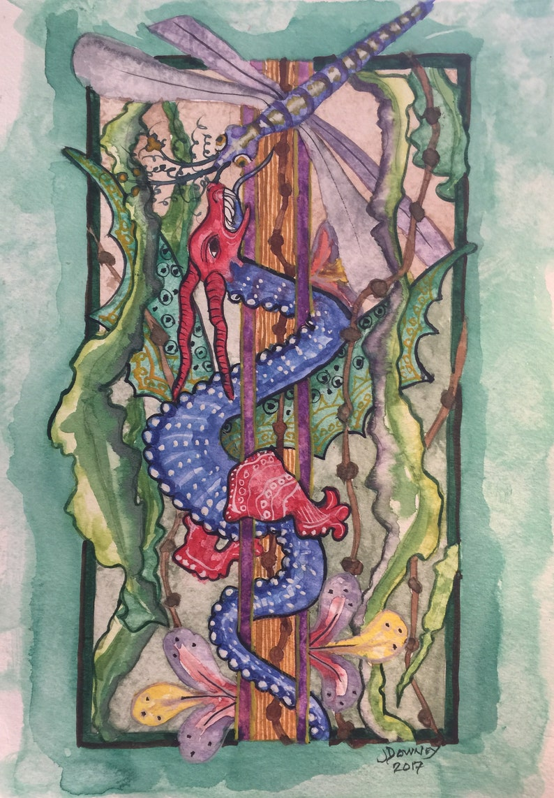 Medieval Watercolor Painting Dragon and Dragonfly image 0