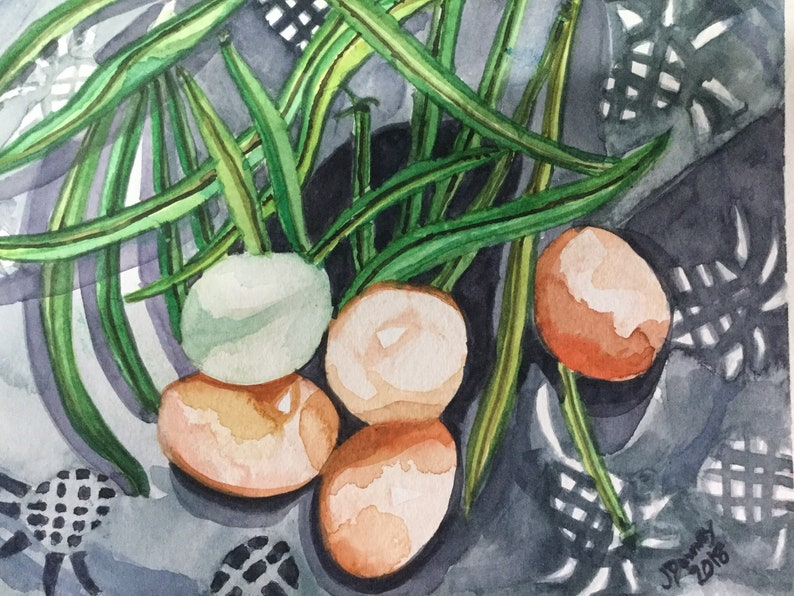 Watercolor Painting  Fresh Green Beans eggs image 0