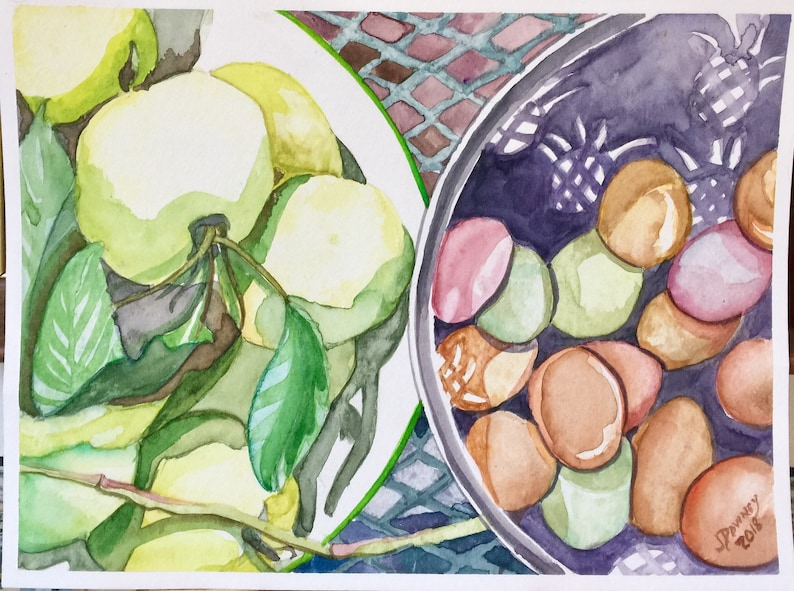 Watercolor Painting June apples  eggs  kitchen image 0