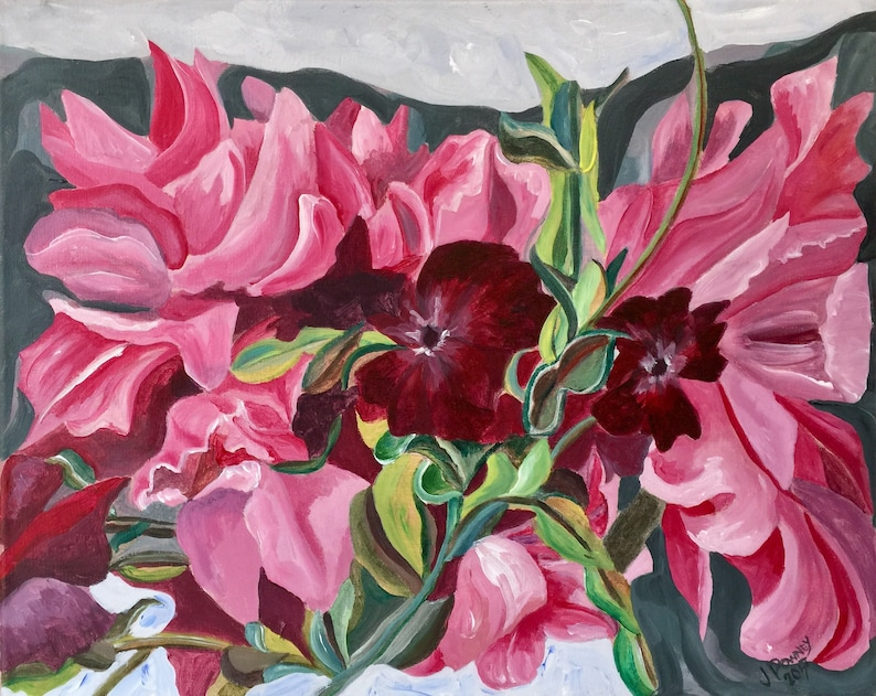 Acrylic Painting on Canvas Peonies Fine Art Wall image 0