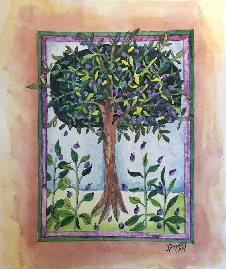 Medieval Watercolor Painting  Plum Tree Fine Art image 0