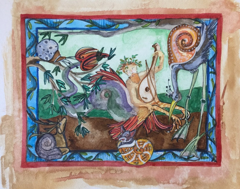 Medieval Watercolor Painting Under The Sea Fine image 1