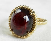 Garnet Ring Vintage 14k Cabochon Engagement Ring Ring Vintage Statement Ring Birthstone Gifts for Wife Girlfriend