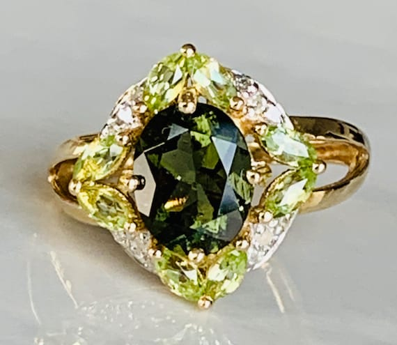 Green Tourmaline Peridot Ring Diamond Halo Peridot