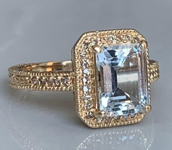 Aquamarine Ring 14k Gold Diamond Emerald Cut Aquam