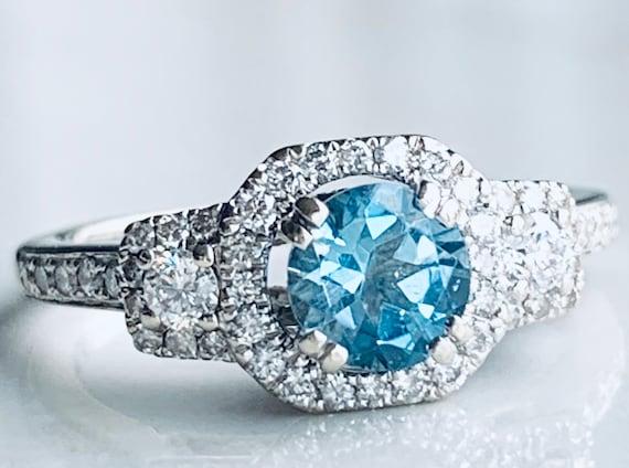 Aquamarine Ring 14K Aquamarine Diamond Engagement