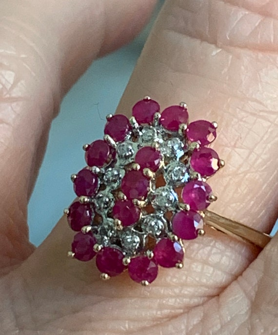 Ruby Ring 10K Gold Diamond Ruby Engagement Ring 2.