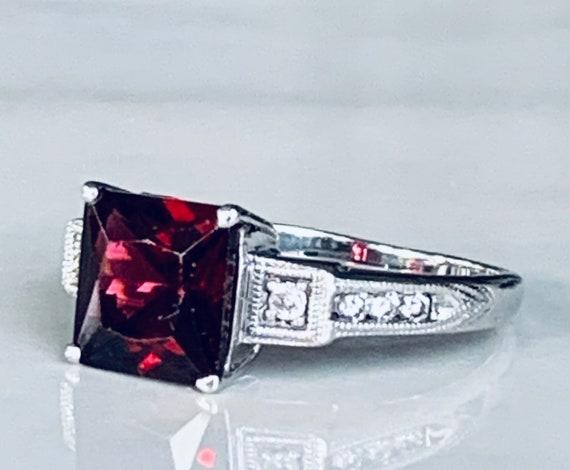 Garnet Ring 14k Art Deco Diamond Vintage White Gol