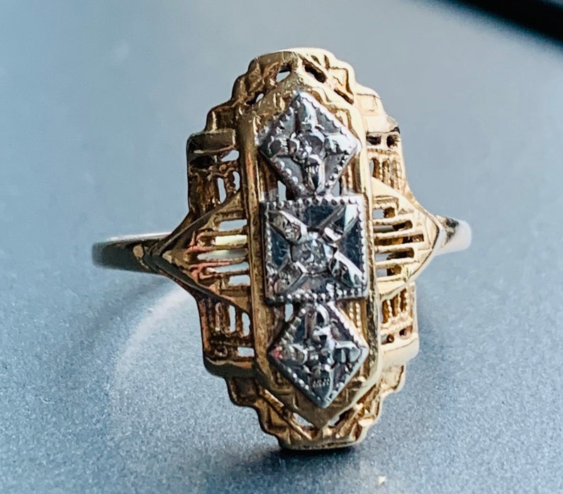 Vintage Diamond Ring Art Deco Ring 10K Diamond Ring White Gold Diamond Ring 1920s Deco Filigree Ring 1920s Jewelry Statement ring
