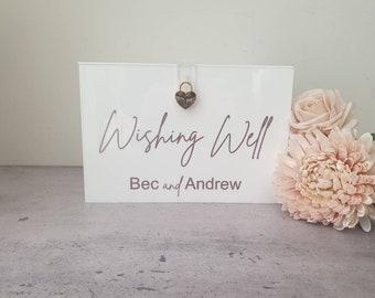 White Acrylic Wishing Well   Acrylic Wishing Well   Card Box   Personalised Acrylic Card Box   Wedding Decor   Personalised Wishing Well