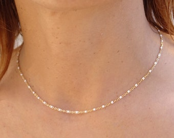 Gold or silver and enamelled rosary chain necklace, stainless steel, gift idea, woman's jewel, thin necklace, Christmas gift, Valentine's Day