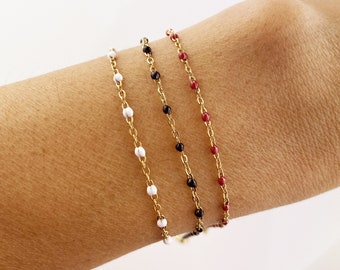 Enamelled rosary chain bracelet, stainless steel, gold chain, Christmas gift idea, woman's gift, fine bracelet, gold, enamel, rosary