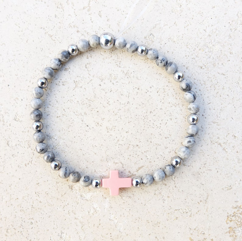 Valentine/'s Day cross bracelet birthday party gift idea Christmas Pink and snowflake tinted howlite cross bracelet