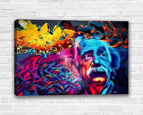 "Graffiti Art Albert Einstein Just Google It 16/""x22/"" Giclee Canvas Print"