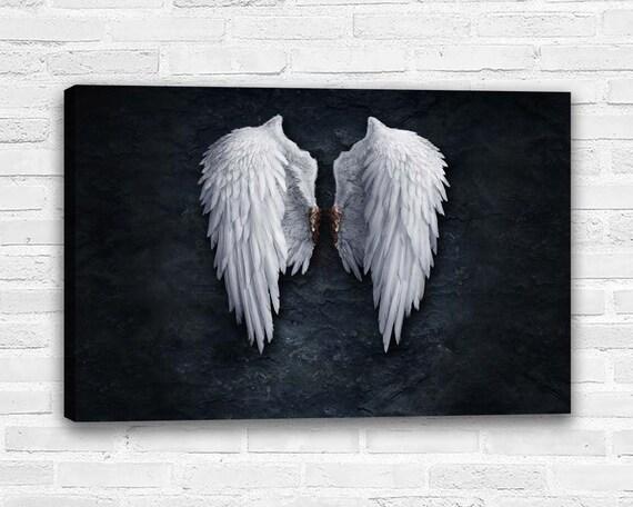 Banksy Black Angel Wings London street Canvas Art Wall aRT