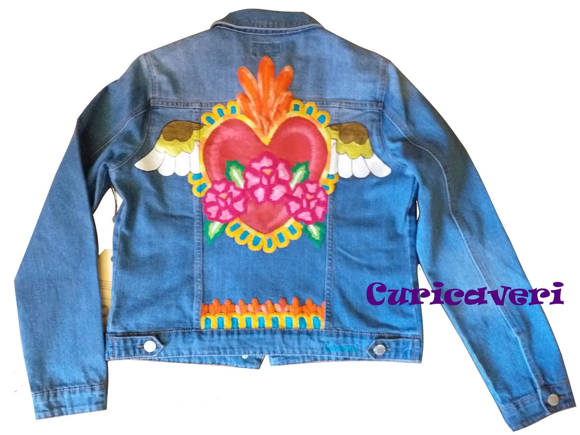 Hand Painted Embroidered Denim Jacket Heart Wings Boho Flowers Woman Colors Artisan And