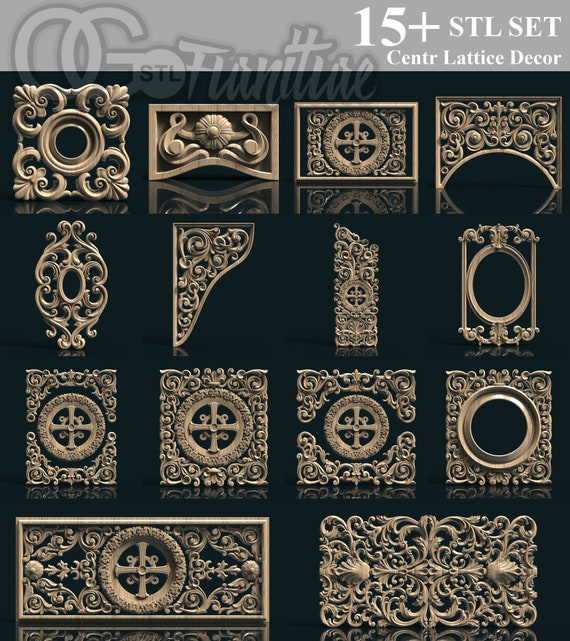9 3D STL Rosettes Decor Models for CNC Router Carving Machine Artcam aspire