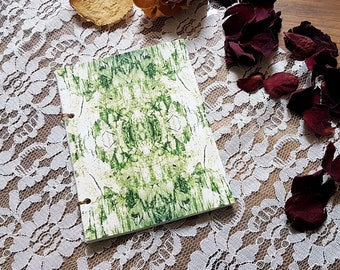 """Notebook """"Printed Collection"""" - handmade with a printed olive green cover - original abstract illustration - sketching paper 90gsm - A6"""