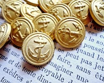 Nos Vintage 1970s DeadStock Golden Navy Anchor Rockabilly Buttons Nautical Lot