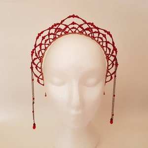 Headband red for adult woman Red berry wreath Tiara red crown adult headdress Red berries Berry headpiece