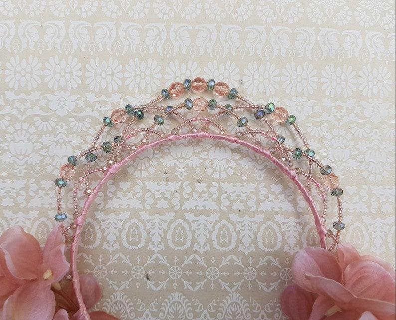 pink fairytale tiara vintage wedding headpiece beaded flower crown Crystal princess tiara midsummer headpiece fairy queen crown