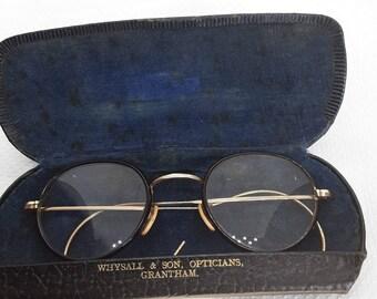 Antique Bifocal Glasses with Gold Filled Etched Frames Original Case 1905 Vintage