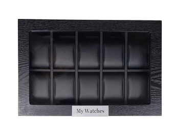 TimelyBuys Personalized 10 Black Ebony Wood Watch Box Display Case Storage Jewelry Organizer with Glass Top & Stainless Steel Accents