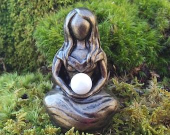 Moon Goddess, Goddess Selene Statue, Choice of Selenite or Moonstone, Lunar Goddess, Selene Goddess, Meditating Goddess, Altar Goddess
