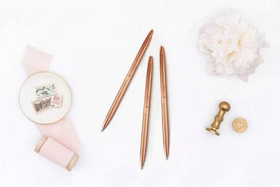Bamboo Shape Gel Ink metal pen Chic Stylish Journal Pen Black Pen Wedding Guest Book pen Rose Gold Pen Metal Ballpoint Pen Planner Pen