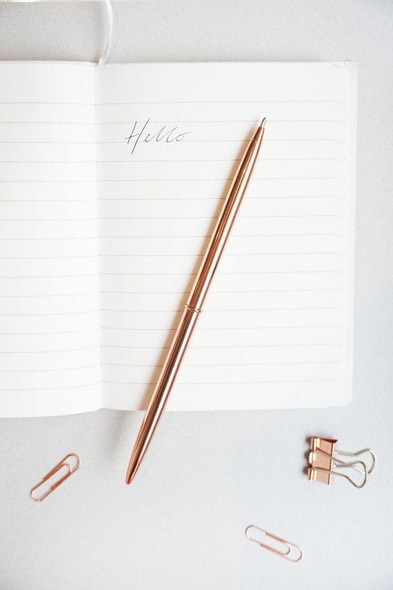 Black Pen Wedding Guest Book pen Metal Ballpoint Pen Rose Gold Pen Planner Pen Chic Stylish Journal Pen Bamboo Shape Gel Ink metal pen