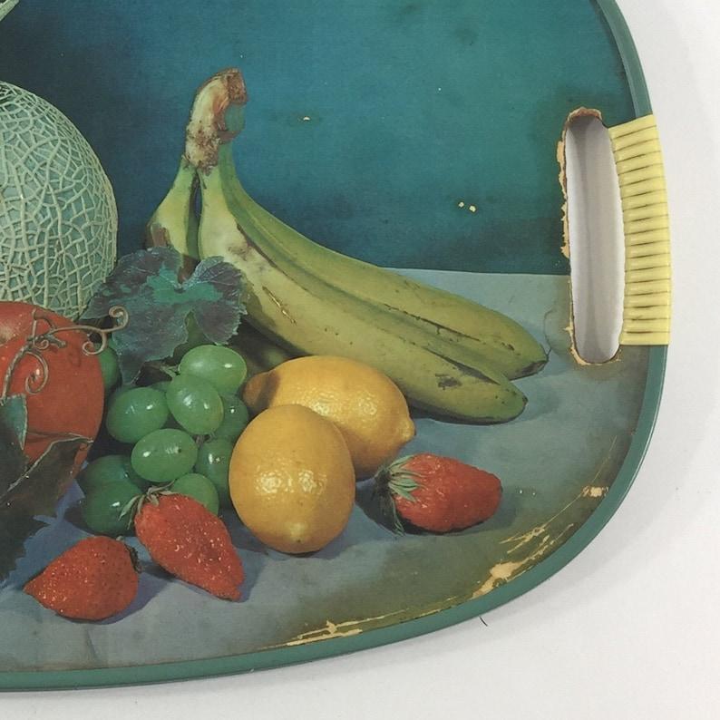 Mid century serving tray Vintage blue fiberboard Fruit oval platter Made in Japan
