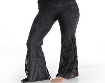 da9af97f5e528 Fringe Mermaid Flare Leg Layer Tie Dye Rollover Style Waist Mineral Wash  Womens Yoga Pants