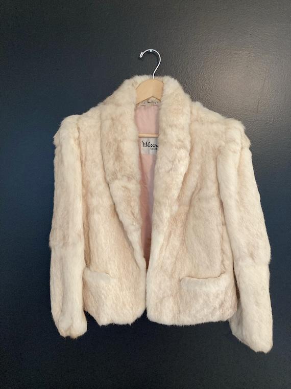 Vintage, 70s, puff sleeve, white, rabbit fur coat