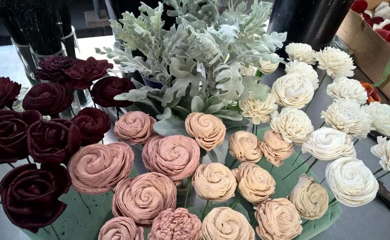 Burlap wrapped handle Burgundy /& Peach Forever Flowers by Gigi Eco-Friendly Sola  Wood Flower Bouquet Lambs Ear Dusty Miller Keepsake