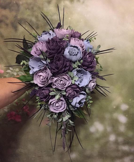 Forever Flowers by Gigi Eco Friendly Peony and Dahlia Wedding Plum Purple Keepsake Wood Flower Bouquet in Ivory Lavender Purple