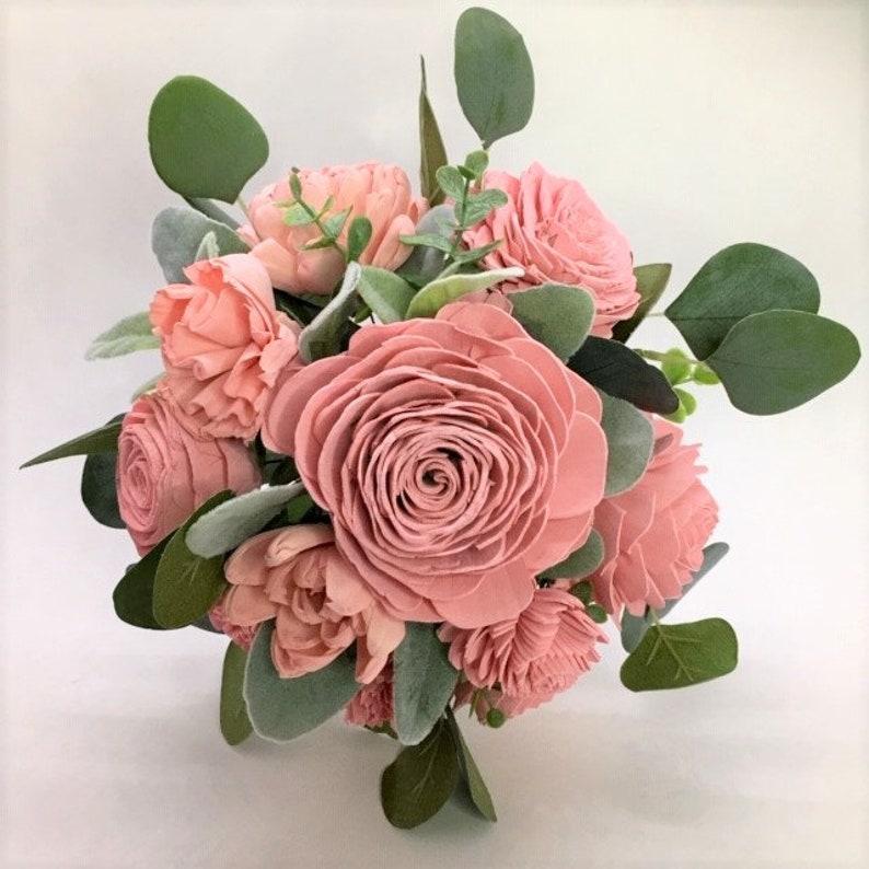 Forever Flowers by Gigi Keepsake Sola Wooden Peony Dahlia Rose Wedding Eco Friendly Sola Wood Pink and Silver Dollar Eucalyptus Bouquet